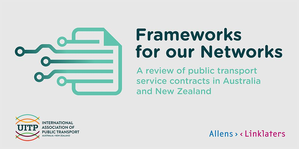 Icon of a contract with public transport network lines running off it. Report title: Frameworks for our Networks - a review of public transport service contracts in Australia and New Zealand