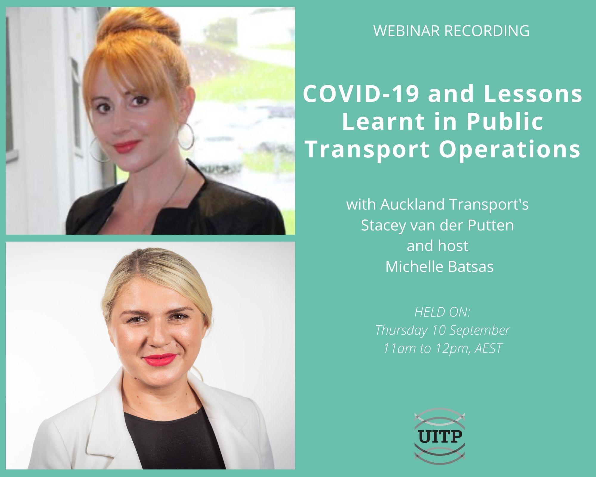 Left = Headshot of two female speakers; Right = webinar details